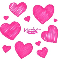 Pink marker stains textured hearts set vector