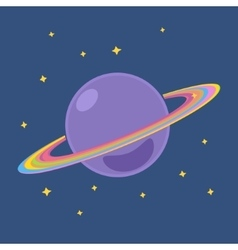 Planet Saturn with Stars in Outer Space vector