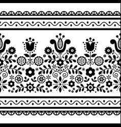 Polish folk art seamless black pattern vector