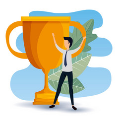 Profesional businessman with prize cup and leaves vector