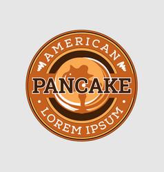 Retro american pancake emblem logo design vector