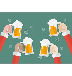 Santa clinking beer glasses vector image