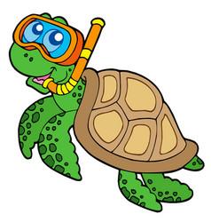 Sea turtle snorkel diver vector