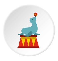 seal with a ball icon circle vector image
