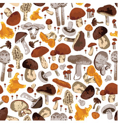 Seamless background with mushrooms vector