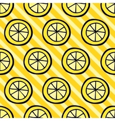 Seamless pattern with lemon on stripped background vector