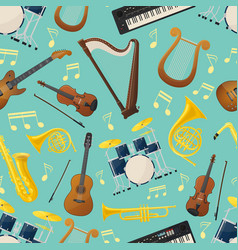 Seamless pattern with music guitar and drum kit vector