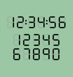 set digital clock led numbers vector image
