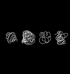Set hand drawn scribble line shapes vector