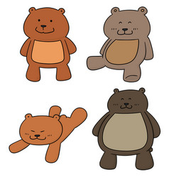 set of bear vector image