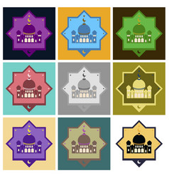 Set of icons in flat style muslim mosque vector
