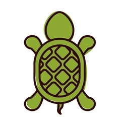 silhouette with turtle shape animal color vector image