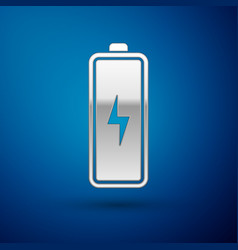 silver battery icon isolated on blue background vector image