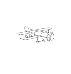 single continuous line drawing retro biplane vector image