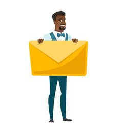 Smiling groom holding a big envelope vector