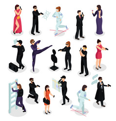special spy isometric icons vector image