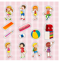 sticker set of kids and school objects vector image
