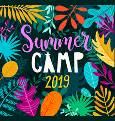 summer camp 2019 lettering on jungle background vector image