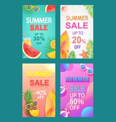 Summer sale banner promotion leaflet sample vector