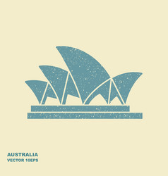 sydney opera house stylized icon in flat style vector image