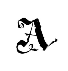 The letter a in gothic style latin capital vector