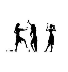 three girls womens ladys drinking drunk people vector image