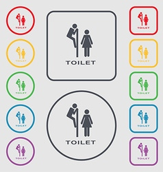 toilet icon sign symbol on the Round and square vector image