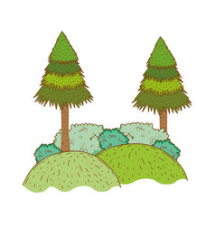 trees rural landscape in round icon vector image