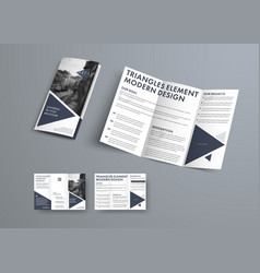 tri-fold brochure design in modern style vector image