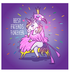 unicorn with flamingo best friends forever vector image