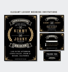 Unique Luxury Wedding Invitations Template vector image