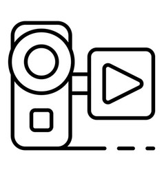 video live blog camera icon outline style vector image