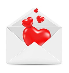 White Envelope With Red Hearts vector image