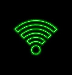 Wi-fi neon sign bright glowing symbol on a black vector