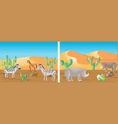 wild animals in the desert field vector image