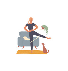 woman trains at home doing leg exercises vector image