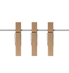 Wooden Clothespins Pegs Rope Side View Isolated vector