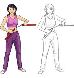 Asian Nunchuck girl in sport uniform vector image vector image