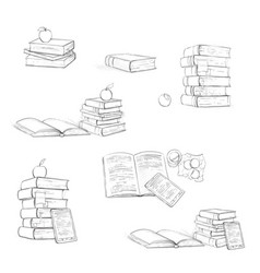 beautiful educational books on in black and white vector image vector image