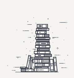 Book pile line infographics vector image