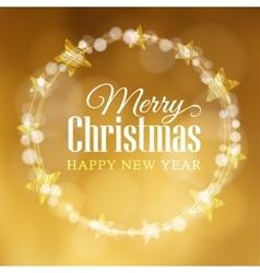 Christmas greeting card Wreath made of bokeh vector image vector image