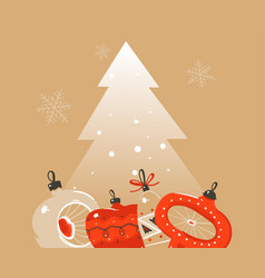 hand drawn abstract merry christmas and vector image