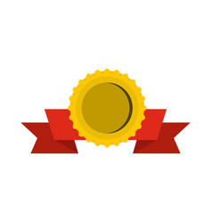medal with ribbon icon flat style vector image