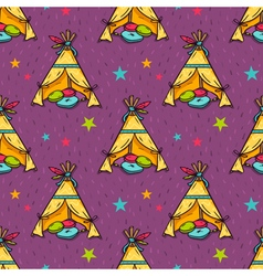 seamless pattern with indian wigwam for kids room vector image vector image