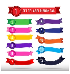 Set of colorful label ribbon tag 013 vector image vector image