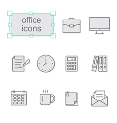Thin line icons set Office vector image vector image