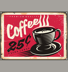 Vintage coffee shop promotional sign vector