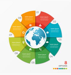 circle chart infographic template with globe vector image vector image