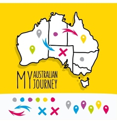 Hand drawn My Australian Journey map project with vector image vector image