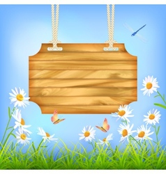 Sky Green Grass Flowers Wood Board vector image vector image